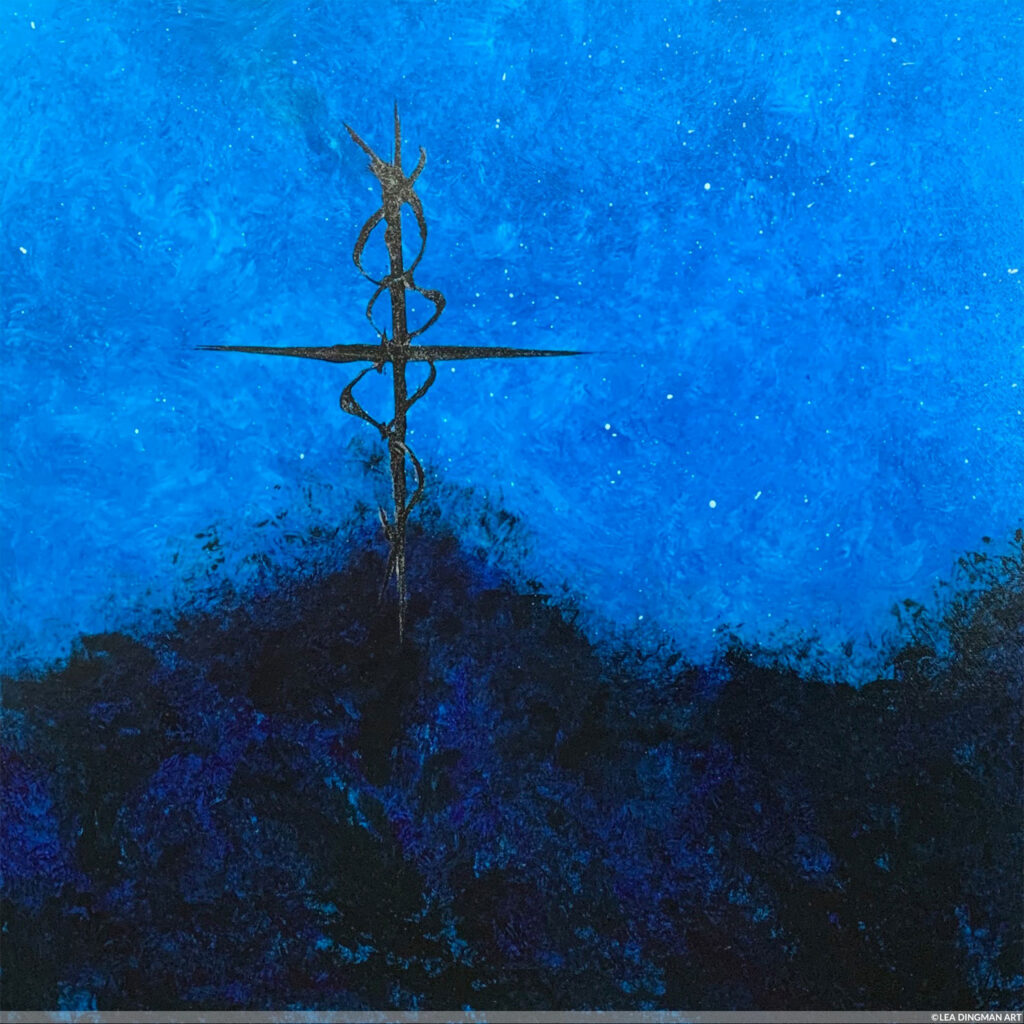 Cross Stands Alone - Painting by Lea Dingman